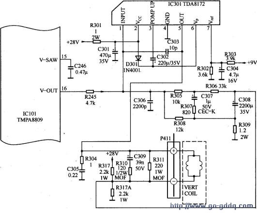 tcl王牌at29s168b彩电场扫描电路原理分析