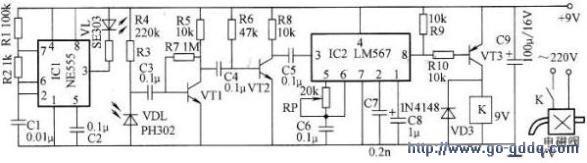 ic2作为电磁阀门的控制电路,它是由lm567音频译码器组成的.图片