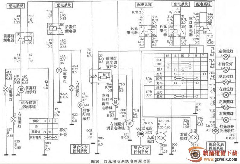 灯光照明系统电路原理图如图10所示