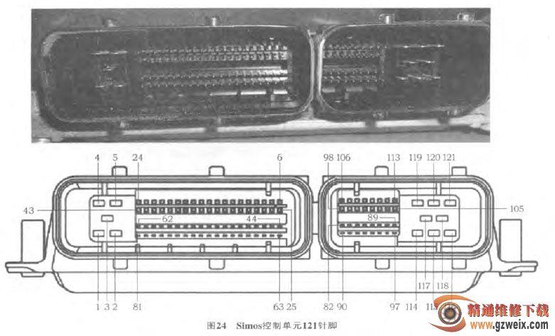 3 继电器 速腾轿车继电器安装在两个地方: 一是发动机舱内 (参见图20); 二是仪表板左下方, 如图22所示。  3.1 发动机舱内继电器 发动机舱内安装2个继电器: 继电器458和继电器100。 继电器458是Simos控制单元J363供电继电器; 继电器100是二次空气泵继电器。
