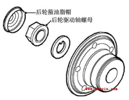 (3)拆装后轮轴承时,后轮毂油脂帽和后轮驱动轴螺母必须废弃高清图片