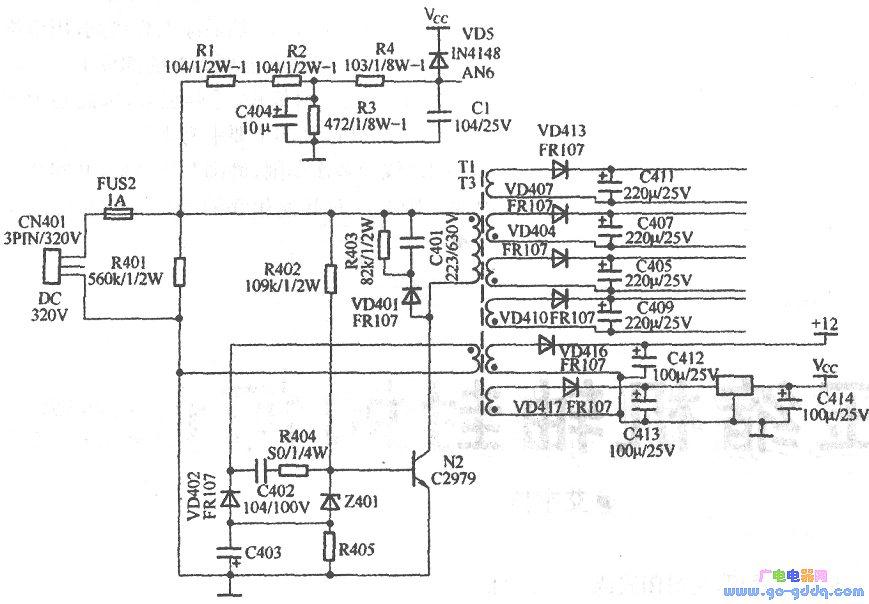 海尔KFR-36GW/BPF型空调器,采用进口变频压缩机,频率范围为30—120Hz,采用三菱公司的功率模块,室内机采用专用芯片,室外机采用进口芯片。根据变频空调器控制电路的特点和修理经验,判断故障点应在开关电源及外围元件。该机组的开关电源和电压采样电路如图所示。整流、滤波后的320V直流电压通过接插件CN401引入室外机开关电源板,通过R402触发开关管N2迅速导通,变压器一次绕组通电。与此同时,反馈绕组产生的负向电压通过稳压管Z401,使加在开关管N2基极上的电压接近于Ov,开关管又迅