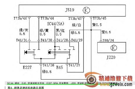 巡航控制电路图如图   所示_其控制流程可用以下文字描述 :当点火开关
