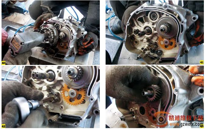 图解更换建设jym125摩托车曲轴箱