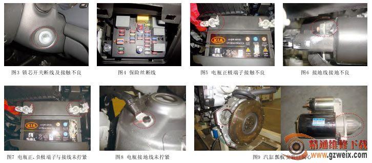 """(2)电瓶接地线接地不良时发生未拧紧、腐蚀、喷漆现象,如图8所示。 3.啮合发生噪音及无法啮合,启动时有""""咯碌碌""""声音但发动机不旋转,启动后归位时""""咳碌碌""""噪音 (1)汽缸瓢板安装口偏心,如图9所示。 (2)发动机齿圈不良时和安装产品不正确时发生 4. 启动机连续工作,启动后启动轮不回位,继续旋转 ( 1 ) 启 动 后 钥 匙 不 回 到 O N 或 K E YSWITCH本身内部短路时发生,如图10所示。  (2)保险箱内部短路或因继电器不良粘连时发生,"""