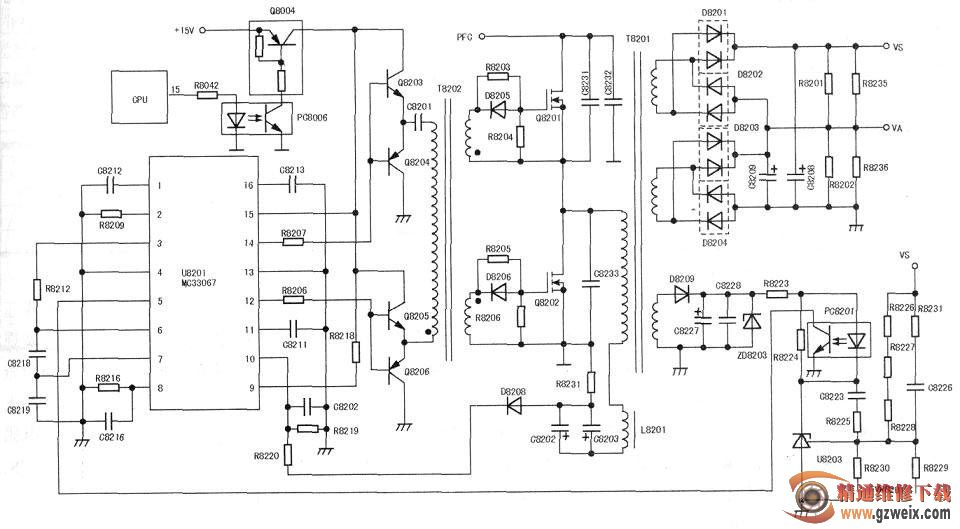 经上述电路分析后,通电瞬间测量u8201(15)脚电压为0v;继续检查q8004