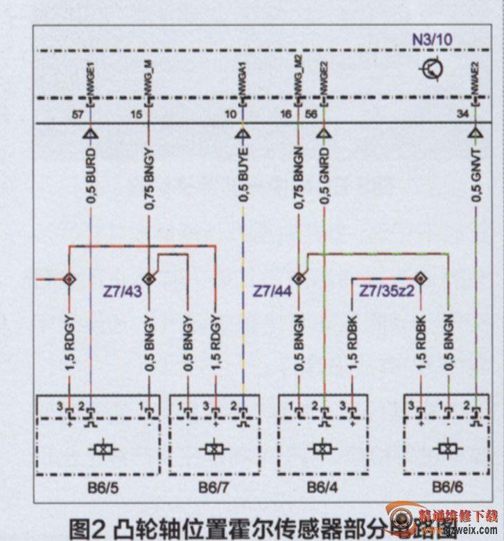 部分电路图(图2)对左侧进,排气凸轮轴霍尔传感器信号电路进行检查