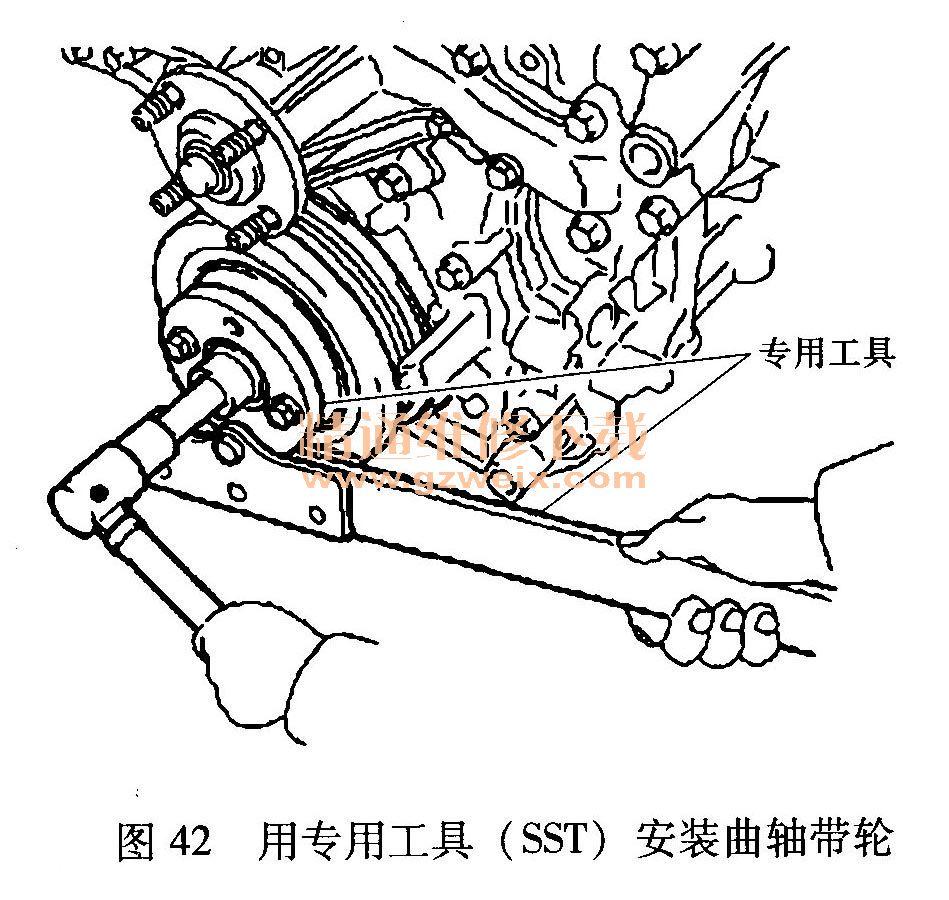 27)安装机油油尺导管(图46):   ①在机油油尺导管上安装好新的O高清图片
