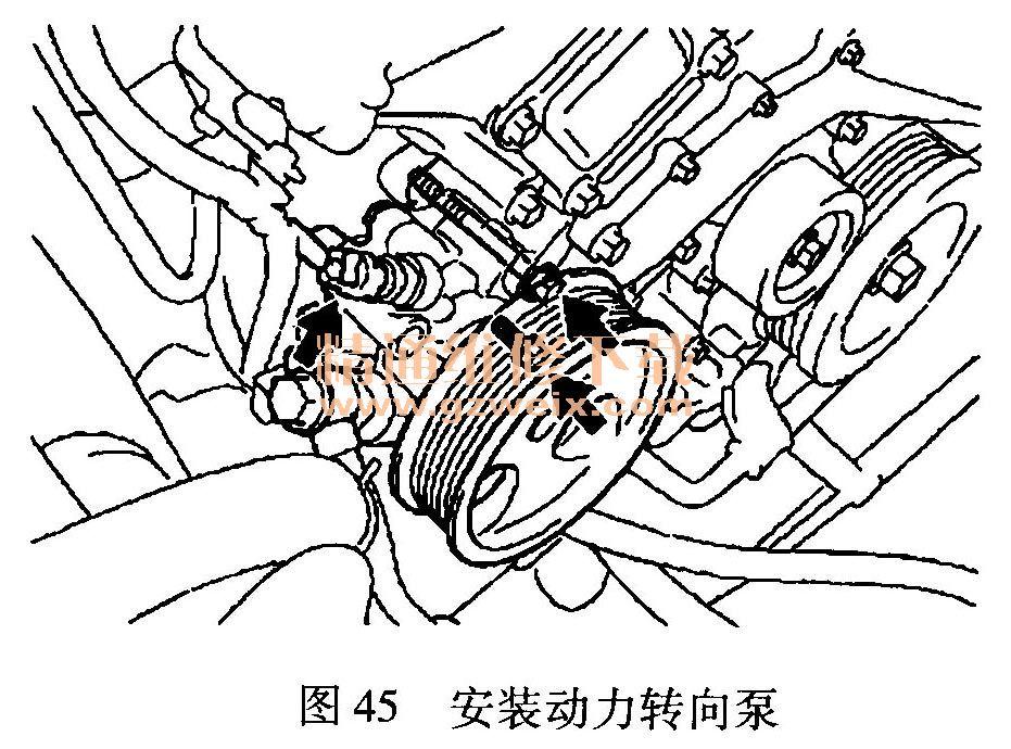 27)安装机油油尺导管(图46):   ①在机油油尺导管上安装好新的O形高清图片
