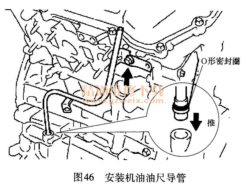 ①在机油油尺导管上安装好新的O形密封圈.   ②在0形密封圈上涂抹一高清图片