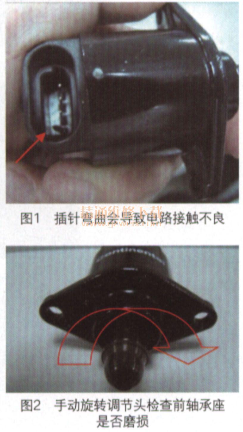 电机的前轴承座磨损,需要更换怠速电机.   2.电阻测试   检高清图片