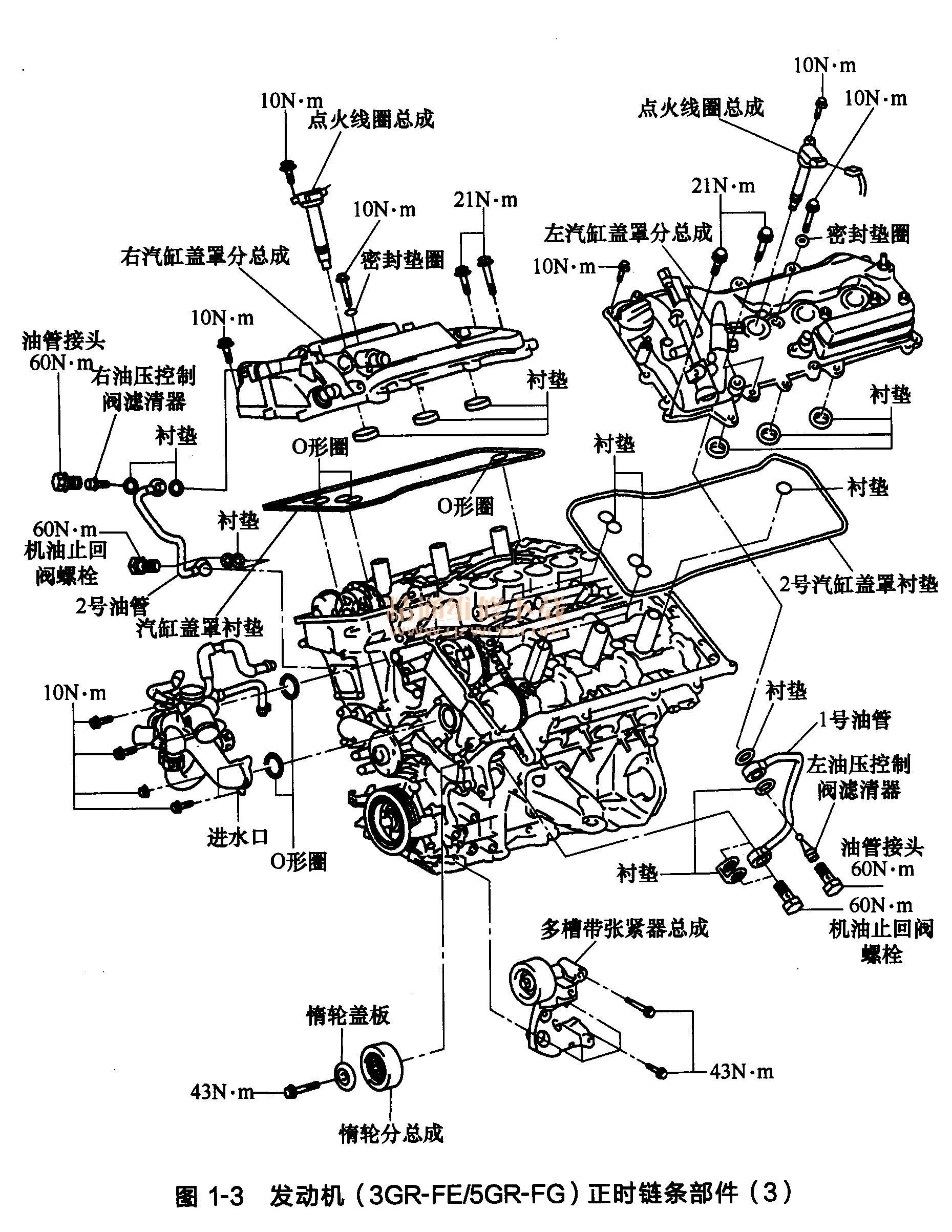 丰田锐志 皇冠发动机 3gr fe 5gr fg 正时链条部件高清图片