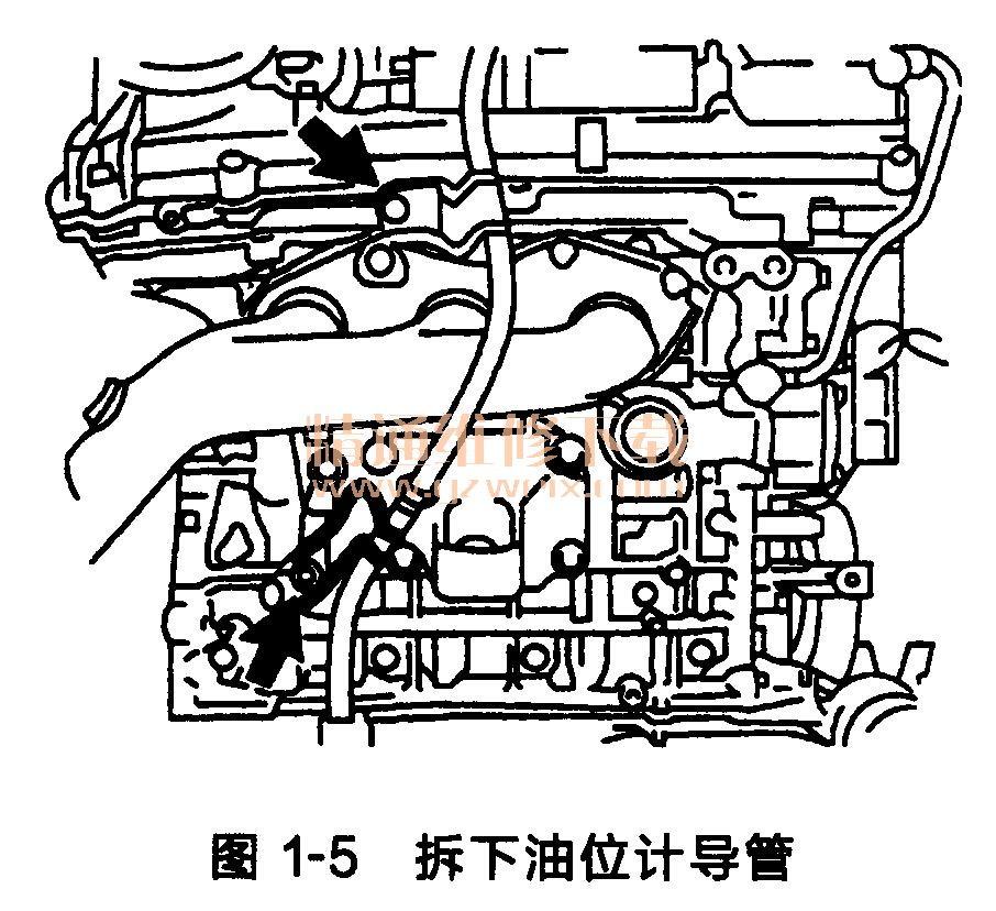 (1)拆下带自动变速器的发动机总成。 (2)拆下发动机配线。 (3)拆下油位计导管,如图1-5所示。  拆下油位计。 拆下螺栓,取出1号和2号油位计导管。 从油位计导管上拆下O形圈。 (4)拆下右排气歧管。 (5)拆下左排气歧管。 (6)拆下起动机总成。 (7)拆下自动变速器总成。 (8)拆下前悬架横梁。 (9)拆下驱动盘和齿圈。 (10)将发动机固定到发动机台架上。 (11)拆下风扇和发电机V形传动带。 (12)拆下发电机总成。 (13)分离空调压缩机总成。 (14)拆下2号惰轮。 (15)拆下5个