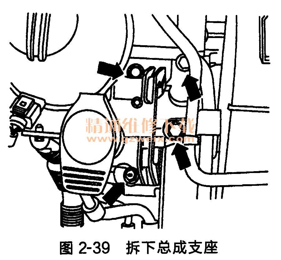 1.发动机正时传动带的拆卸方法 (1)拆下发动机罩盖。 (2)拆下汽车底部隔音垫。 (3)拆下带筋V形传动带。 (4)拆下带筋V形传动带张紧器。 (5)拆下冷却液储液罐(冷却液软管保持连接状态)。 (6)拆卸上部齿形传动带护罩。 (7)转动曲轴,使凸轮轴正时齿轮位于汽缸1上止点标记。凸轮轴正时齿轮的标记必须与齿形传动带护罩上的接头对齐,如图2-37所示。  (8)如图2-38所示,安装支撑装置10-222A和底座10-222A/1,  (9)拧出总成支撑/发动机支架、总成支撑/车身和总成支撑支架/车身的紧