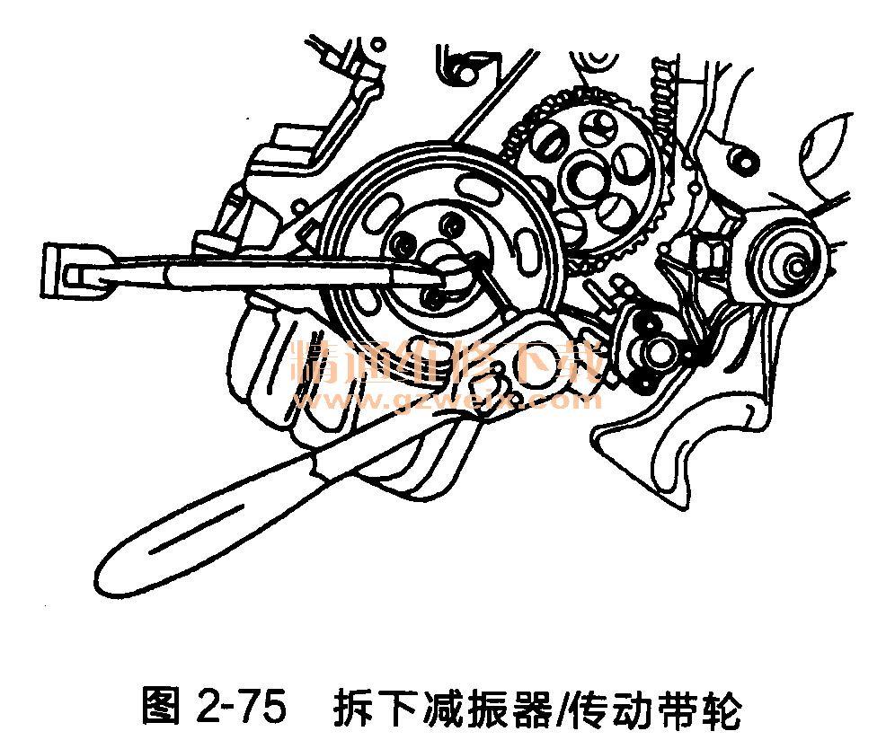 大众桑塔纳发动机 ayj型 正时齿形传动带的拆卸