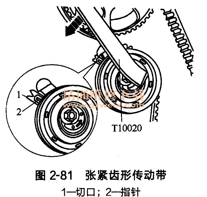 大众桑塔纳发动机 ayj型 正时齿形传动带的安装