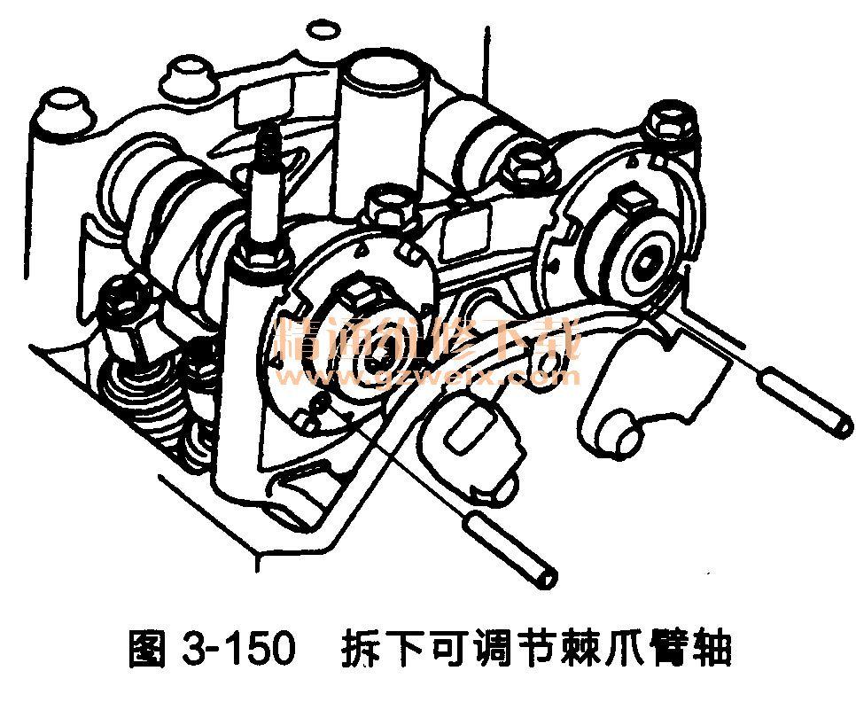 (11)从自动张紧器上拆下销或锁销(P/N14511-PNA-003),如图3-149所示。  (12)拆下可调节棘爪臂轴(P/N24635-P6 H-000),如图3-150所示。  (13)检查链条盖油封是否损坏。如果损坏,则更换链条盖油封。 (14) 清除链条盖配合面、螺栓和螺栓孔上的所有旧液体密封剂。 (15) 清洁并干燥链条盖配合面。 (16) 在链条盖发动机体配合面及螺栓孔内螺纹上,均匀地涂抹液体密封剂,如图3-151所示。  注意:沿线条A涂抹液滴直径约为3mm的液体密封剂。 (17)在油泵