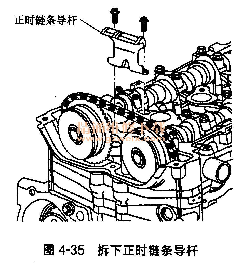 (1)拆下上正时链条导杆螺栓。 (2)拆下正时链条导杆,如图4-35所示。  注意:拆下正时链条之前,必须先拆下正时链条张紧器以卸载张紧力。 (3)拆下正时链条张紧器柱塞,如图4-36所示。  (4)旋转进气凸轮轴执行器以安装EN-48953锁止工具,如图4-37所示。  注意:标记链条和执行器对程序操作非常关键。凸轮轴执行器和正时链条表面的机油必须在标记和链条安装之前清除。 (5)安装EN 48953锁止工具到汽缸盖并紧固至10N·m。如果进气凸轮轴执行器独立于凸轮移动且不会锁止,那么逆时