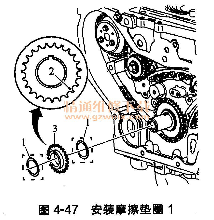 别克君威 发动机正时链条的 安装 方法 精通维修高清图片