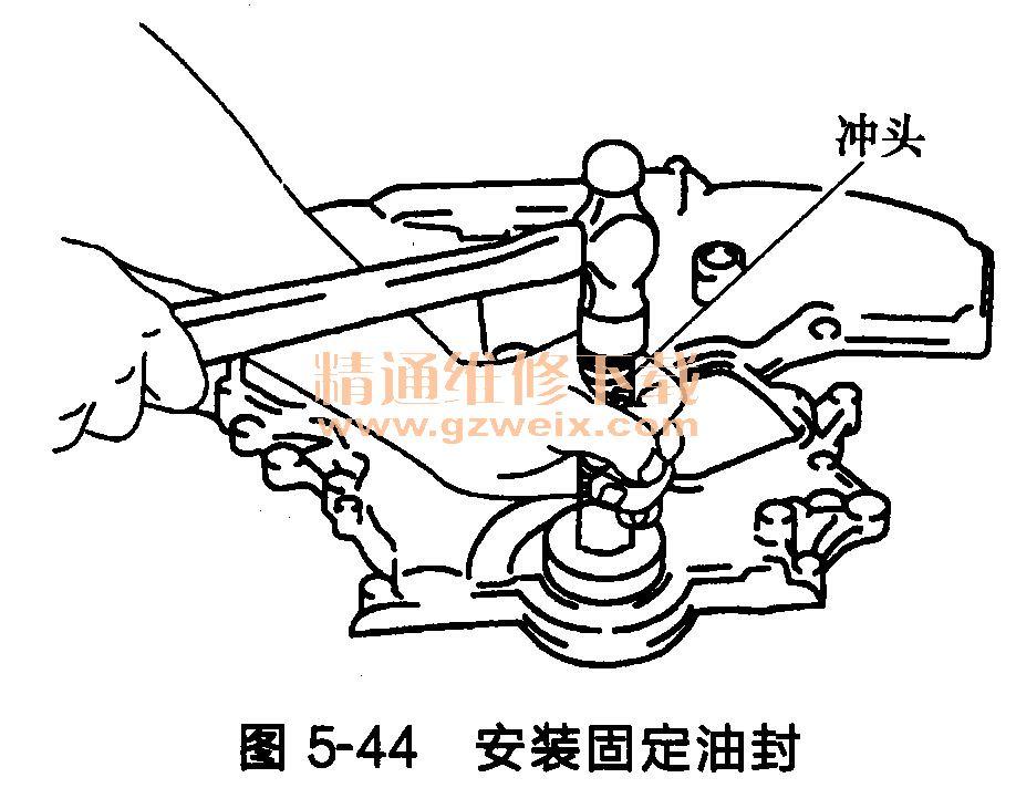 (11)将新的前油封安装到前正时链条室上。 将新发动机机油涂抹在油封唇部的防尘封唇部。 安装时每个密封件唇部装配方向都要如图5-43所示。  使用冲头(外径为60mm)压下固定油封,直至与前正时传动链室端平齐,如图5-44所示。  确认环状螺旋弹簧已到位,而密封唇还未翻转。 (12)将水泵盖和正时链条张紧器盖安装到前正时传动链室上。如图5-45所示,使用压缩器(SST; WS39930000)在前正时传动链室上涂液态密封垫。安装正时链条张紧器盖和水泵盖。  (13)安装前正时传动链室。 如图5-4