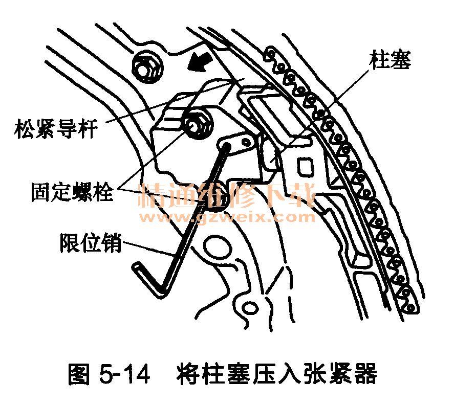 如图5-10所示,将合适的工具插入前正时传动链室顶部的槽口中。  移动工具,撬开前正时传动链室。使用油封刮刀(SST: KV10111100)切开液态密封垫进行。 注意:请勿使用螺钉旋具或类似工具。拆卸后小心处理前正时传动链室,使其不因负载而倾斜或弯曲。 (15)从后正时传动链室上拆卸O形圈,如图5-11所示。  (16)从前正时传动链室上拆卸水泵盖和正时链条张紧器盖。使用油封刮刀(SST KV10111100)切开液体密封垫进行拆卸。 (17)使用合适的工具从前正时传动链室上拆卸前油封,如图5-12所示