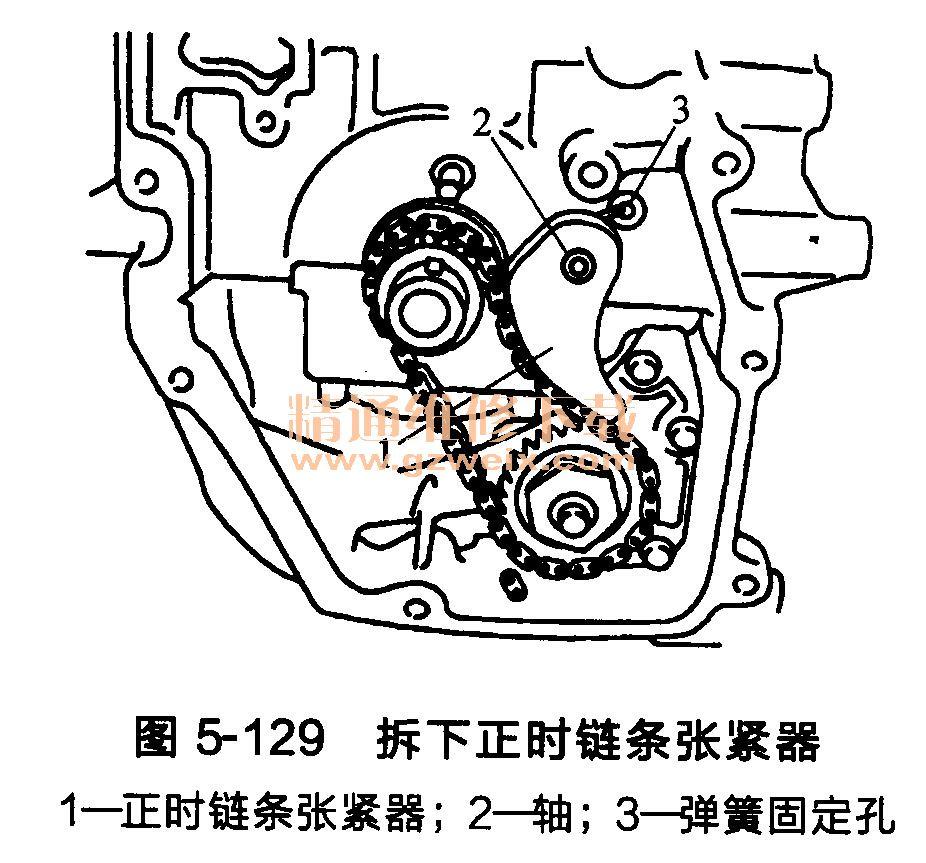 发动机每个正时链条上的匹配标记和相应安装了零部件的链条上的匹配标记之间的关系,如图5-131所示。  (1)安装曲轴链条轮以及和油泵驱动相关的零部件。 同时安装曲轴链条轮、油泵驱动链和油泵链条轮,如图5-132所示。  安装曲轴链条轮,使其无效齿区背向发动机。 安装油泵链条轮,使其六角表面朝发动机前端。 注意:与油泵驱动相关的零部件上没有匹配标记。 使用TORX套筒(套筒尺寸:E8)套住油泵的顶端,然后拧紧油泵链条轮螺母,如图5-133所示。  安装正时链条张紧器,如图5-129所示。  将弹簧插入缸