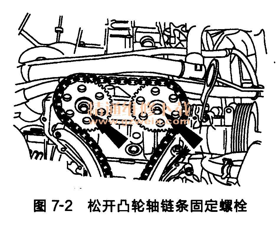 福特福克斯发动机正时链条的拆卸 高清图片