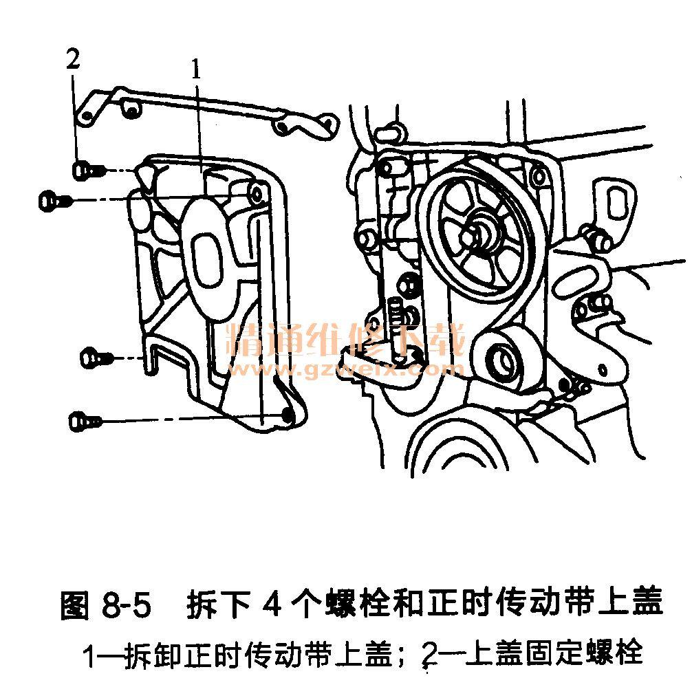 现代雅绅特 g4ed发动机正时传动带部件的 拆卸高清图片