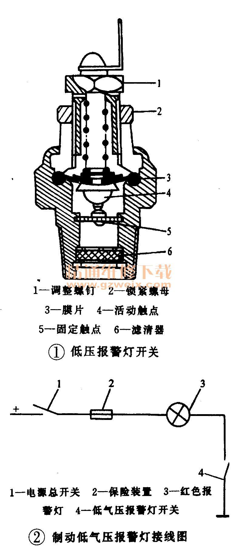 的车辆,避免相撞.液压式制动报警灯开关结构如图3所示,装在