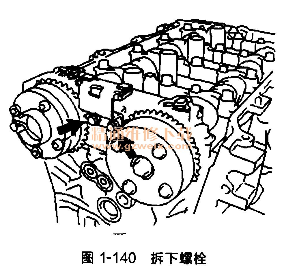 丰田雅力士发动机(1 zr-fe型/4zr-fe型)正时链条的拆卸方法