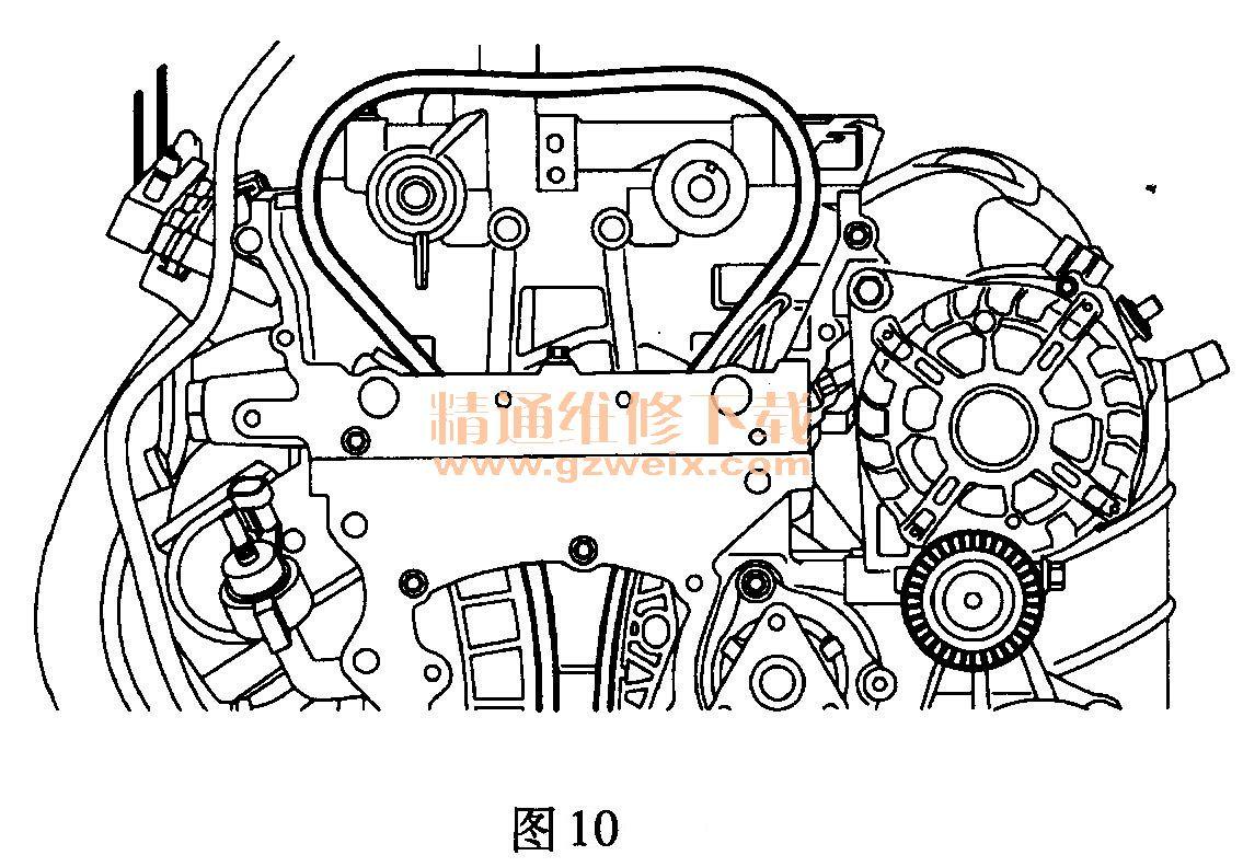 荣威350 1 .5l nse 发动机正时传动带拆卸方法高清图片