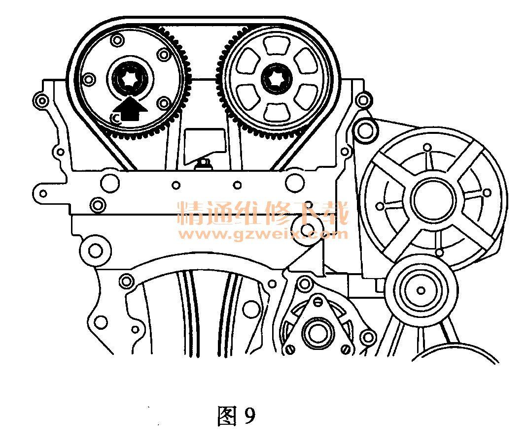 上汽荣威350(1 .5l nse)发动机正时传动带安装方法