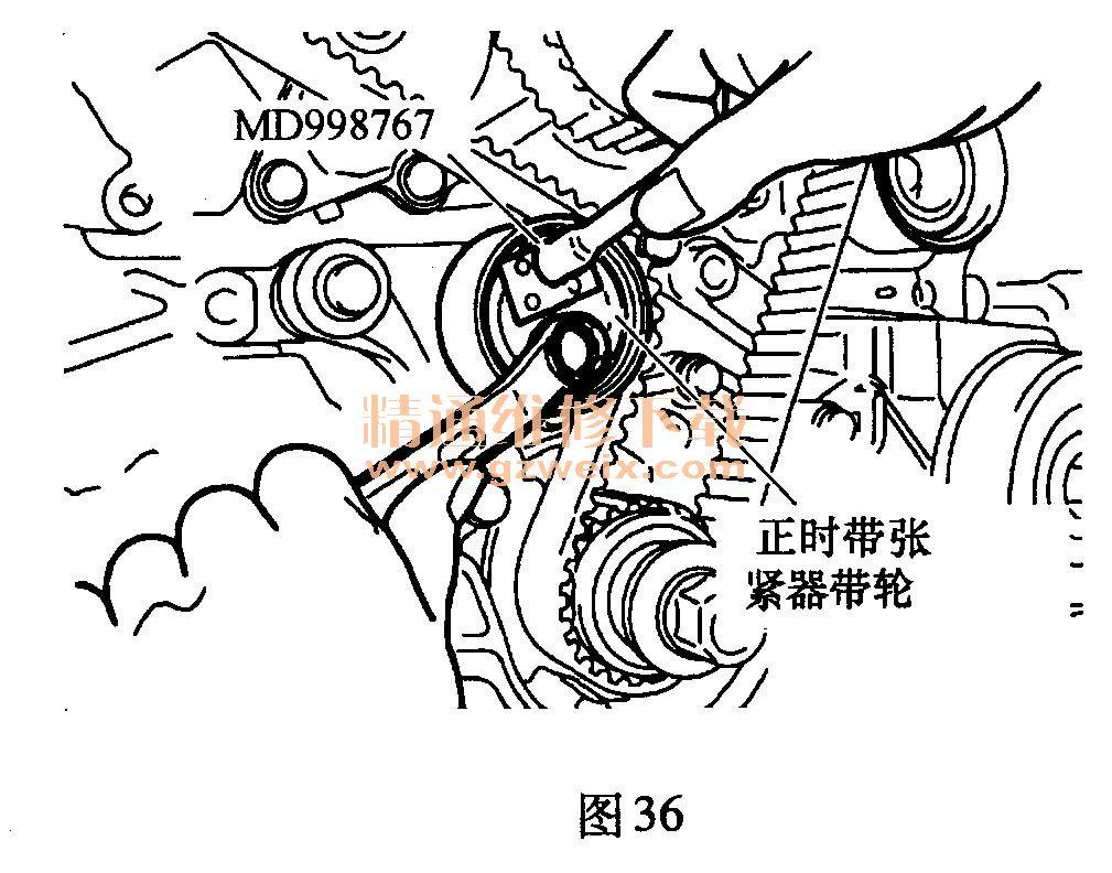 6g75)发动机正时校对方法