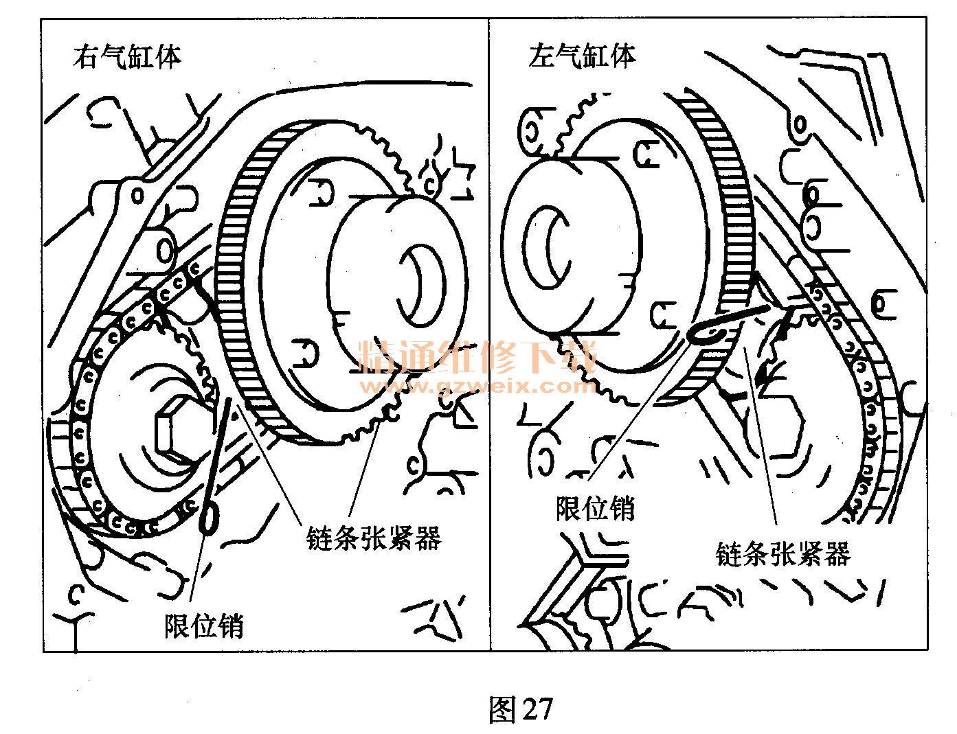 日产天籁(3.5l vq35de)发动机正时校对方法