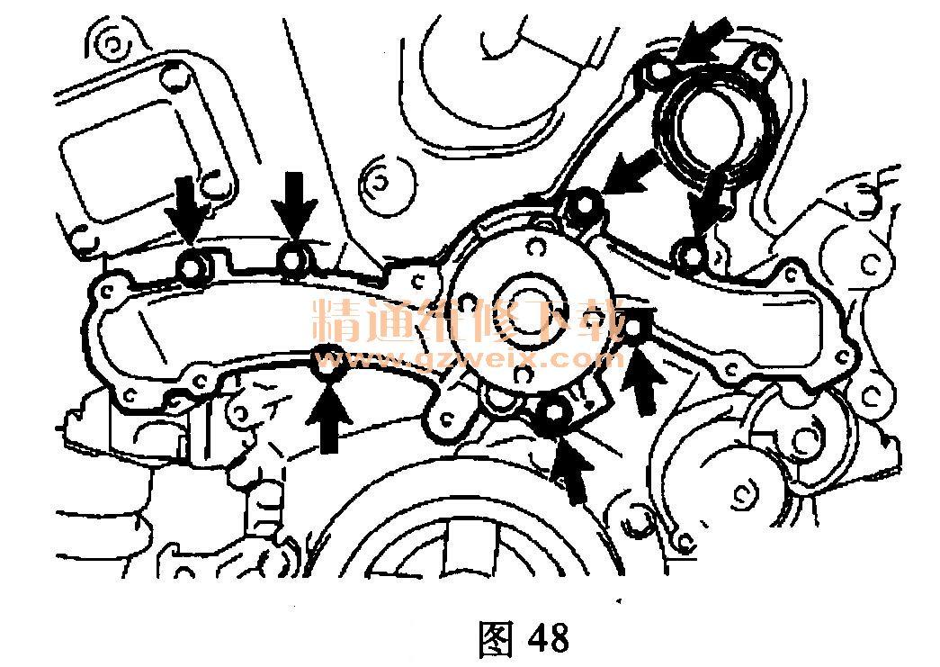 适用2009~2012年丰田汉兰达(3.5L 2GR-FE)车型 (一)正时系统部件(图46)  (二)正时示意图(图47)  (三)拆卸方法 (1)拆卸正时链条盖分总成。 (2)拆卸正时链条箱油封。 (3)拆卸水泵总成。拆下8个螺栓、水泵总成和水泵衬垫,如图48所示。  (4)按以下方法将1号气缸设置到压缩上止点位置。 1)暂时紧固带轮固定螺栓。 2)顺时针转动曲轴,以将右侧缸体孔径中心线(TDC/压缩)与曲轴转角信号盘上的正时标记对准.如图49所示。  3)如图50所示,检查并确认凸轮轴正时齿轮的正时