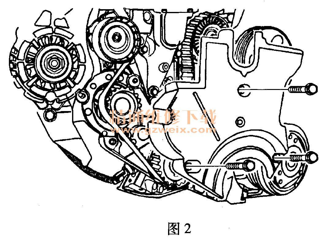 别克凯越(1. 6l l91)发动机正时校对方法