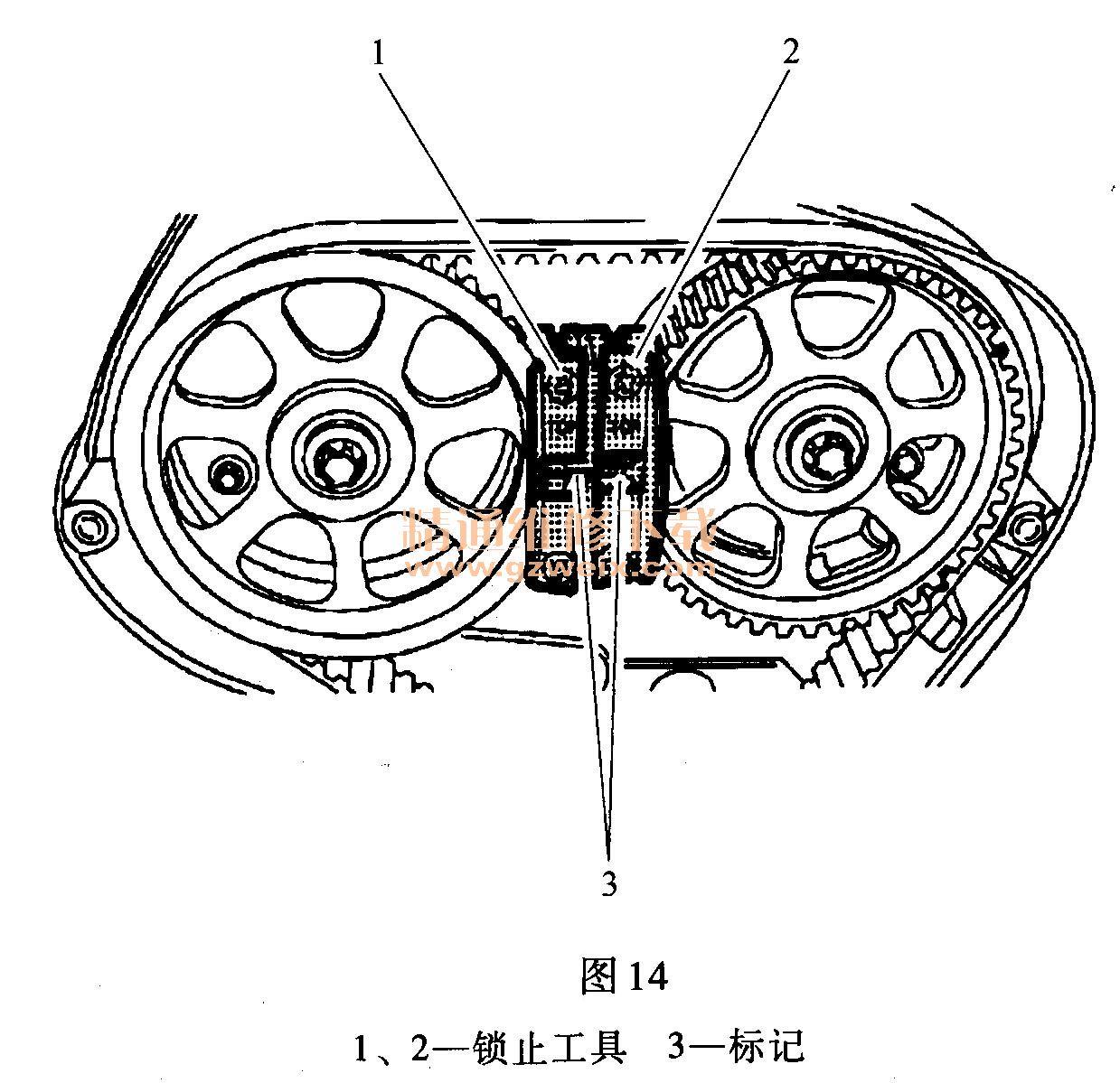 别克君威(1. 6t llu)发动机正时校对方法