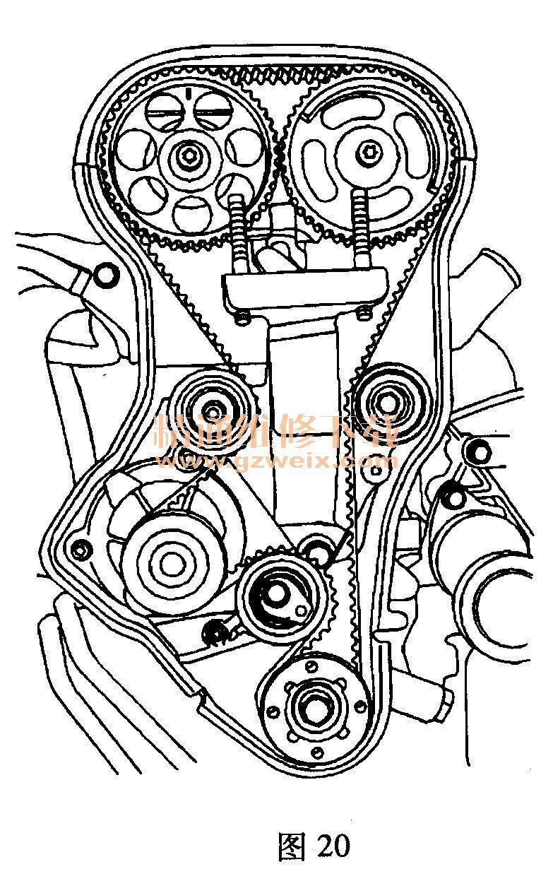 雪佛兰景程 2. 0L L34 发动机正时校对方法
