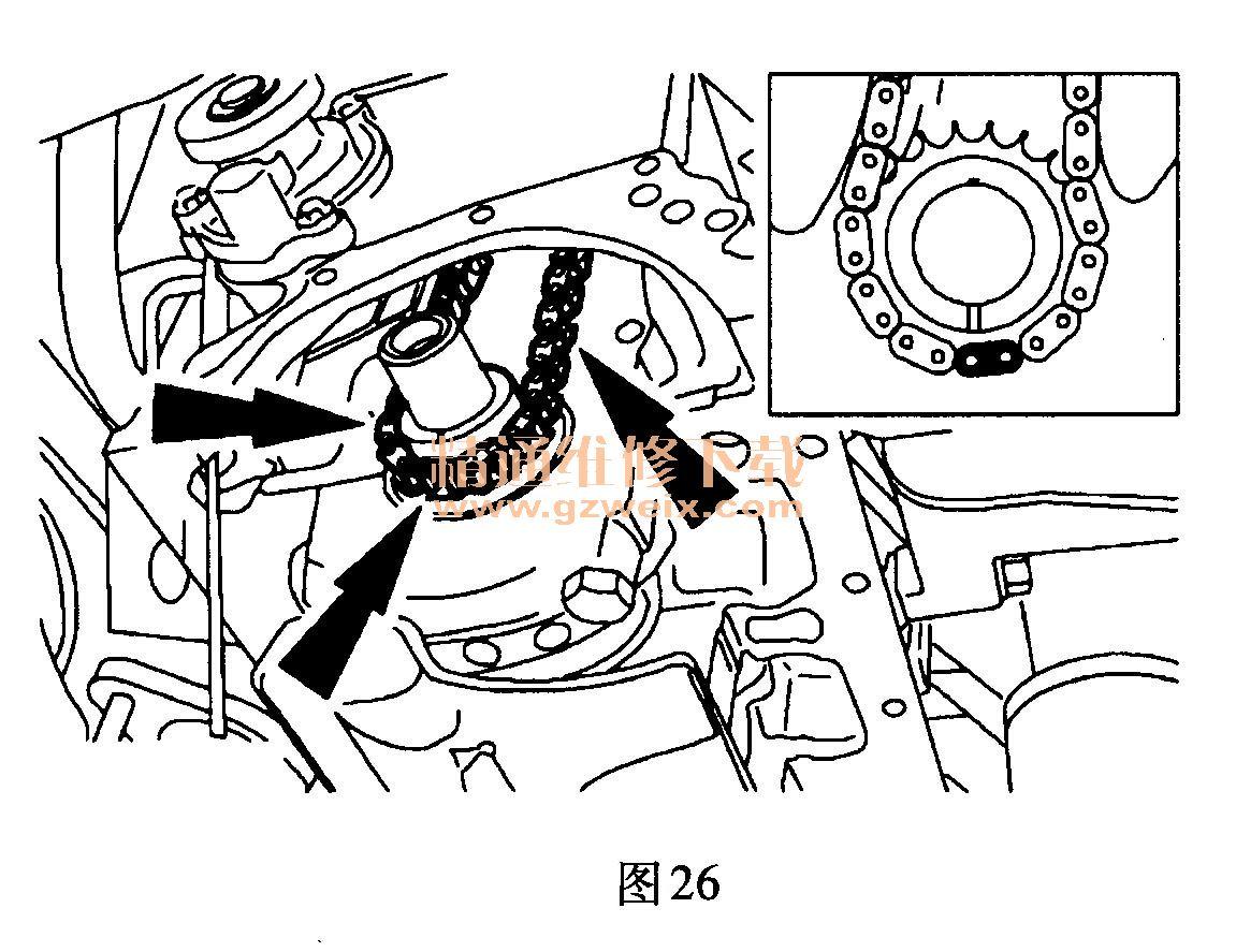 (3)安装正时链条张紧臂