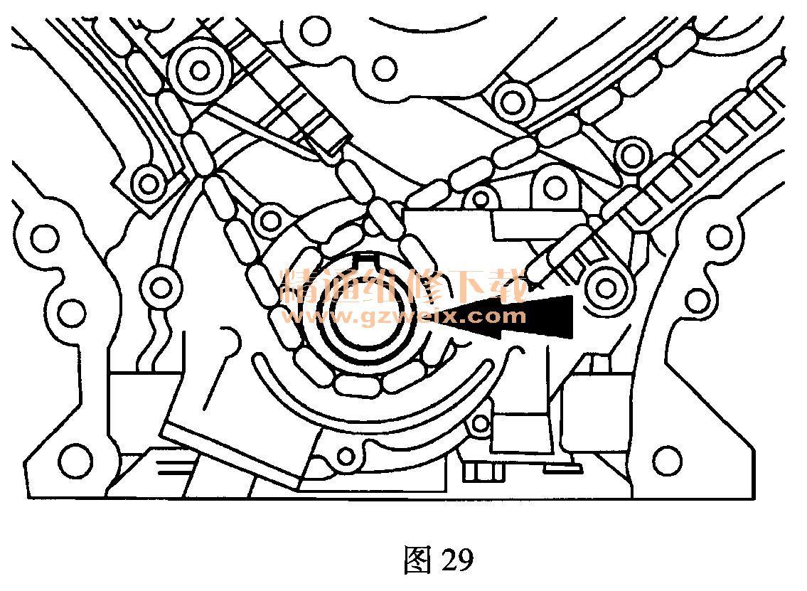 福特翼虎(5. 4l v8)发动机正时校对方法