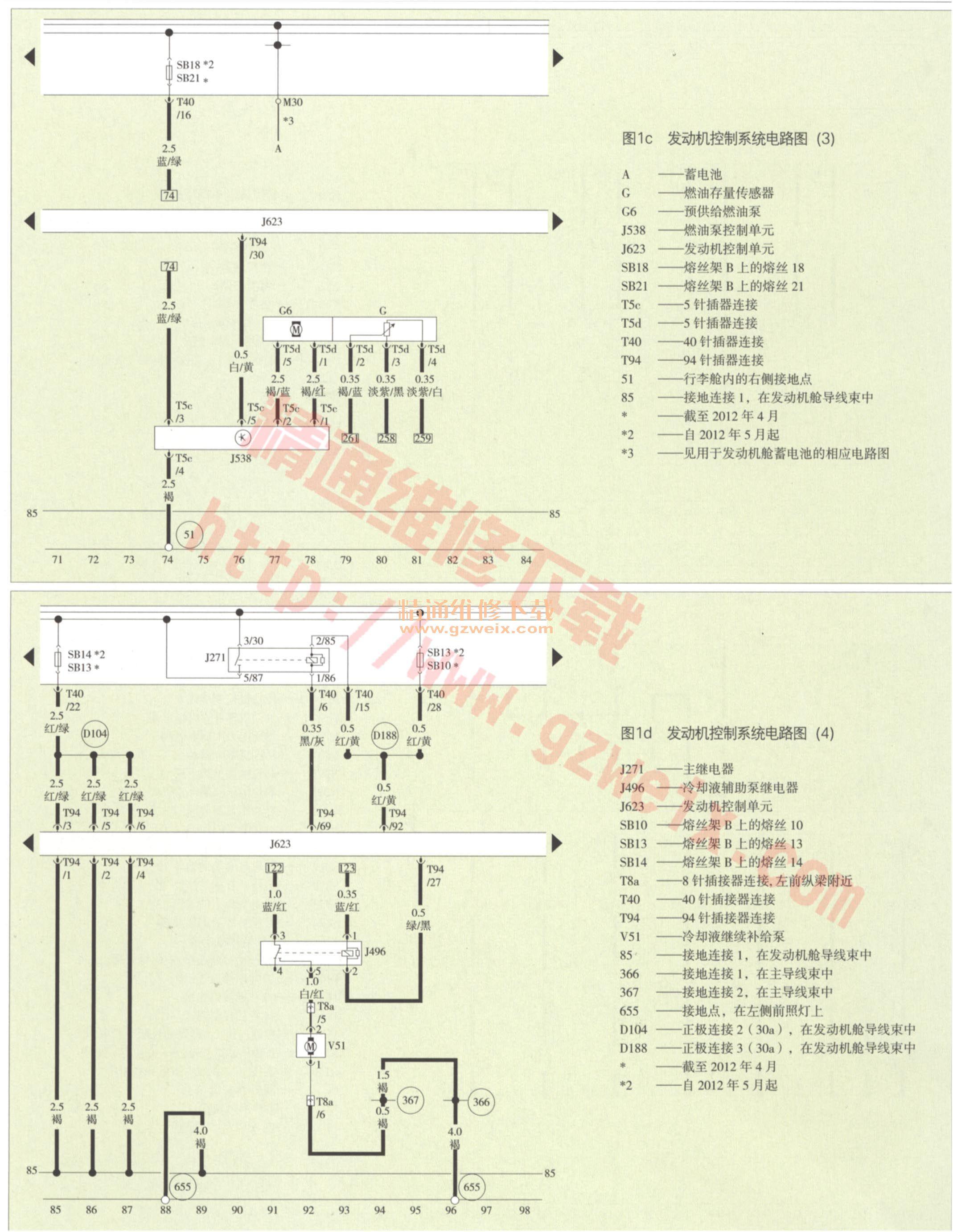 一汽大众奥迪q3-发动机控制系统电路图