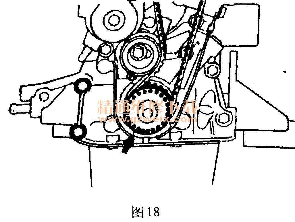 奇瑞QQ 0. 8L SQR372 发动机正时链条拆卸方法高清图片