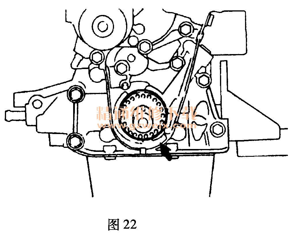 奇瑞qq(0. 8l sqr372)发动机正时链条拆卸方法