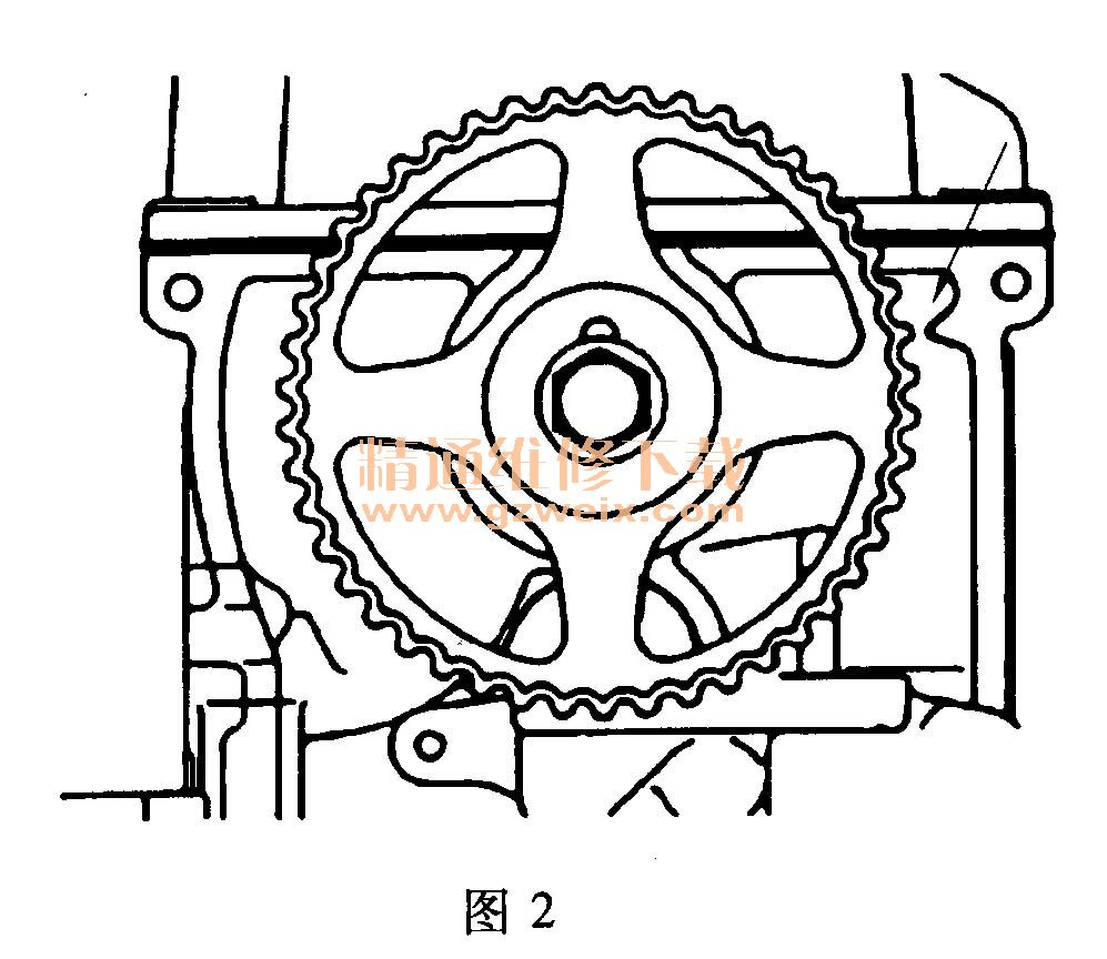 正时带传动部件(图1)  (1)将凸轮轴正时齿轮上的正时记号与缸盖的正时记号对准,如图2所示。  (2)将曲轴正时齿轮上的正时记号与前壳体上的正时记号对准.如图3所示。  (3)将正时带张紧轮锁定在如图4所示的位置。  (4)将张紧轮弹簧的一个伸长端勾在正时带张紧轮的钩形部,并将张紧轮装到机油泵壳体上,如图5所示。  (5)夹住张紧轮弹簧的另一伸长端,并如图6所示将它勾到机油泵壳体凸耳上。  (6)按图示方向移动正时带张紧轮可在安装正时带后将其张紧。 (7)使正时带的张紧侧保持张紧,并将正时带依次装入曲轴