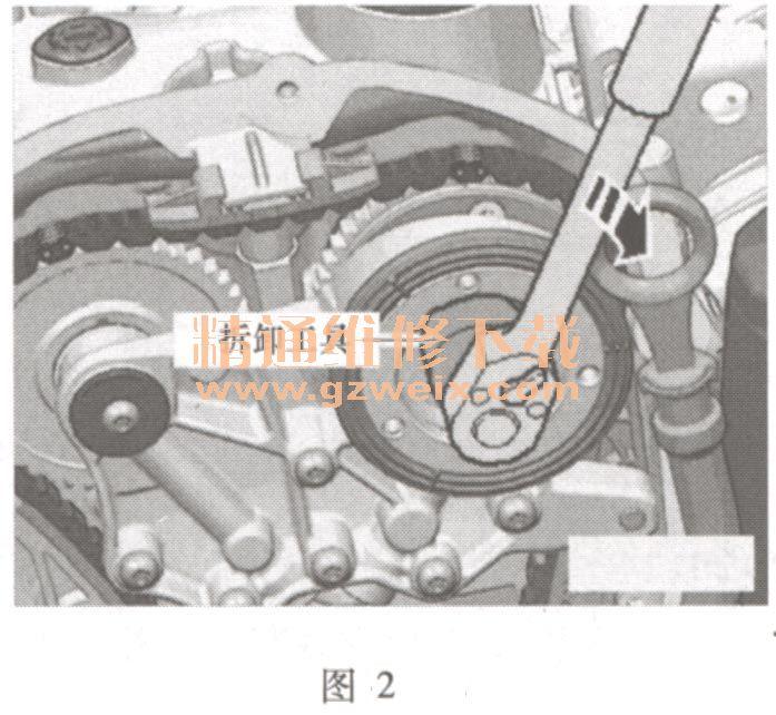 奥迪q5(2. 0l tfsi)发动机正时校对方法