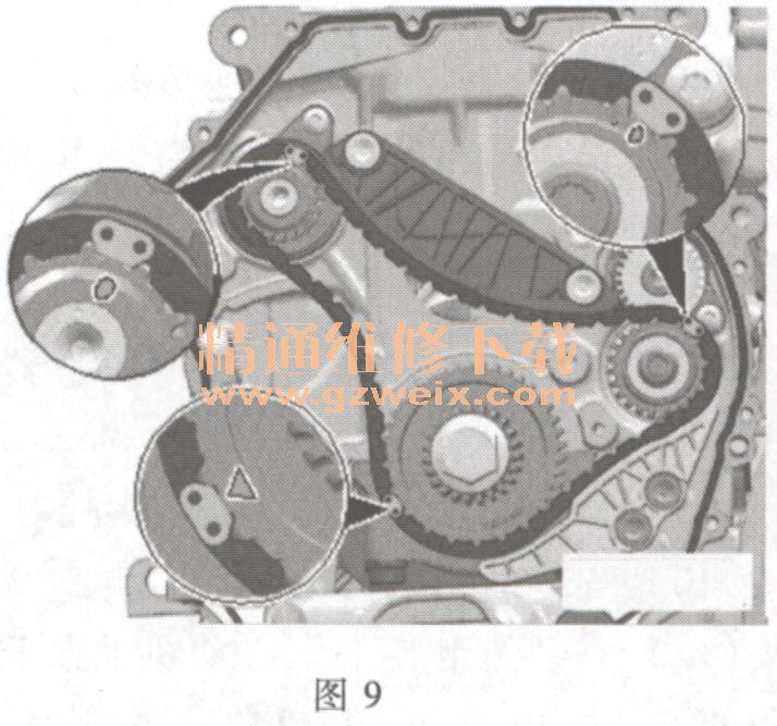 )如图7所示,安装正时链滑轨4并拧紧螺栓.-奥迪Q5 2. 0L TFSI 发高清图片