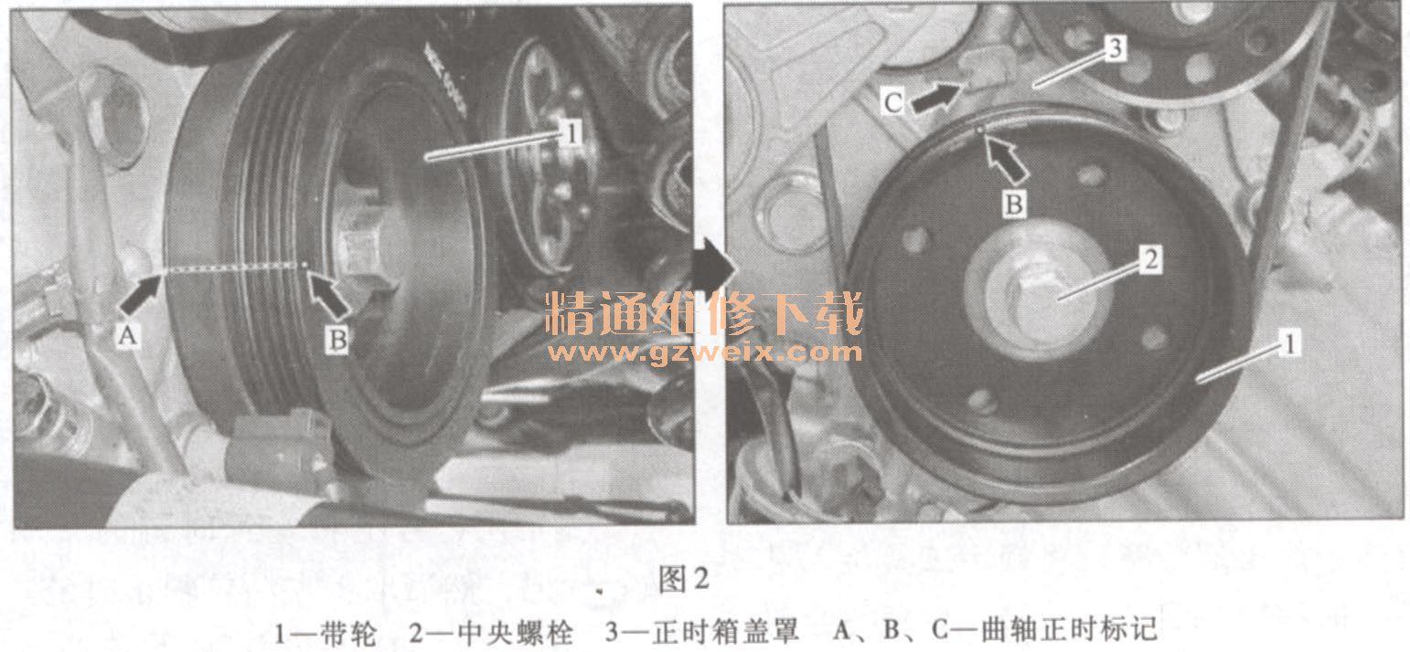 奔驰smart fortwo 1.0l 132. 9 发动机正时校对方法高清图片