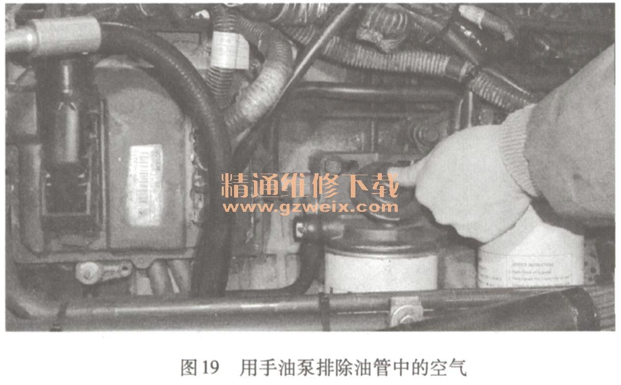 国III 共轨发动机起动时,起动机转动,油轨压力很低高清图片
