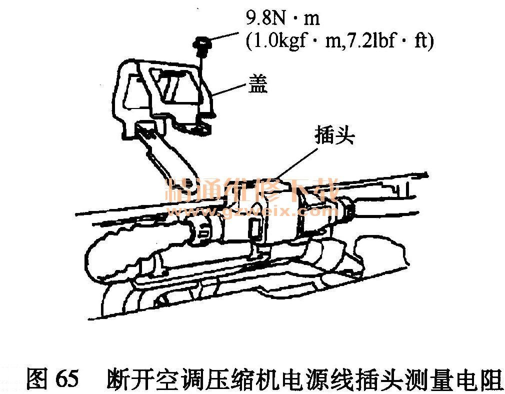 (23) DTC P0AA6 (59 ):高压电路隔离故障 说明: (a)进行故障处理前,应记录所有冻结数据,并查阅一般故障处理信息。 (b)如果A/C系统中使用了不合适的空调(A/C)压缩机油,则故障码POAA6 (59)可能出现。 (c)使用250V绝缘电阻检测器,并戴上手套。 诊断步骤如下: 打开点火开关至ON(II)。 使用HDS检查,是否显示故障码P1629(79)? 是----进行故障码P1629(79)故障处理。 否----进行第步。 使用 HDS在数据表(DATA LIST)中检查,
