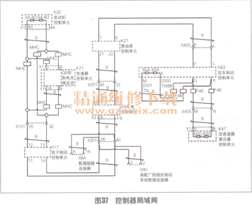 均为12V.从搭铁线的分布情况(图39)看,发动机和变速器控制单元高清图片